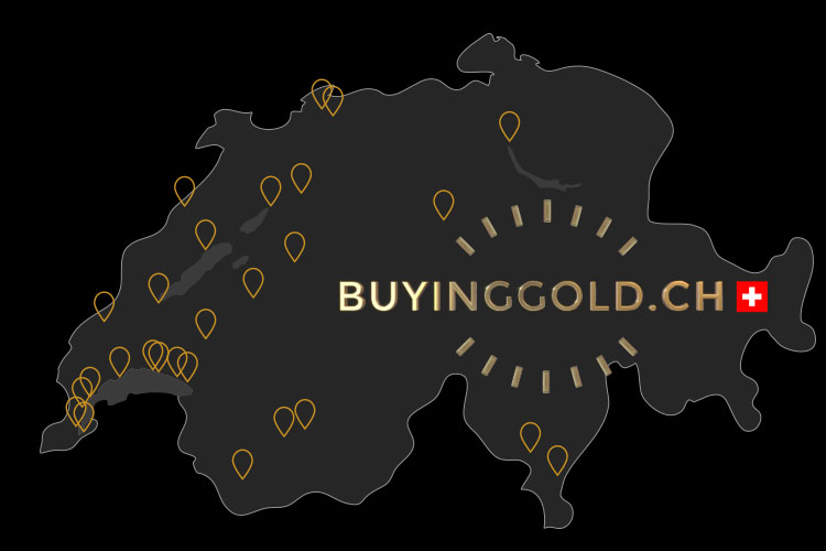 Map of Switzerland buying gold